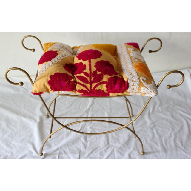 Image of Golden Floral Suzani Vanity Bench