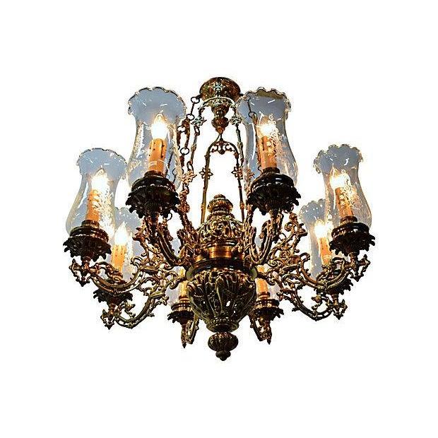 Antique Brass Chandelier 8 Lights W/Windshields - Image 1 of 7