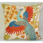 Image of Colorful Peacock Linen Feather/Down Pillow
