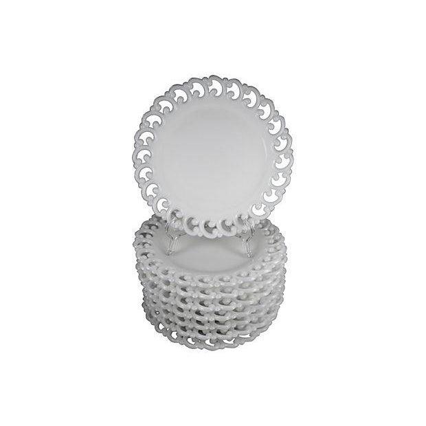 Antique Milk Glass Lace Edge Plates - Set of 8 - Image 1 of 6