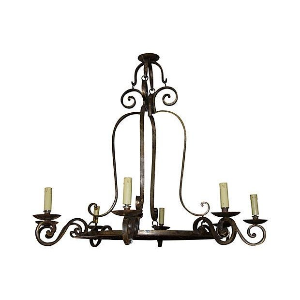 Image of 8-Light Wrought Iron Chandelier