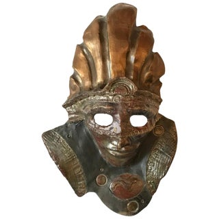 Impressive Raku Mask Of A Warrior In A Headdress By Hal Wahlborg