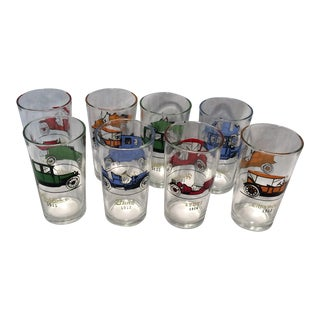 8 Vintage Double Sided Antique Car Highball Glasses