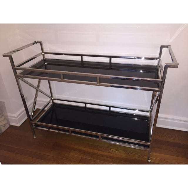 Silver and Black Glass Contemporary Console Table - Image 4 of 5