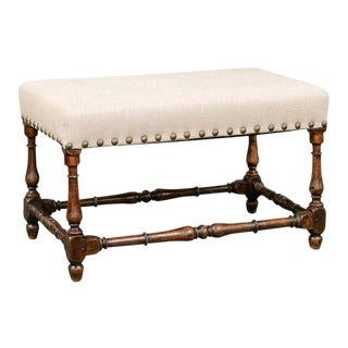 18th Century Italian Wooden Bench with Upholstered Seat and Brass Nailheads