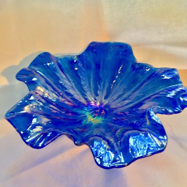 Murano Iridescent Cobalt & Silver Bowl - Image 6 of 9