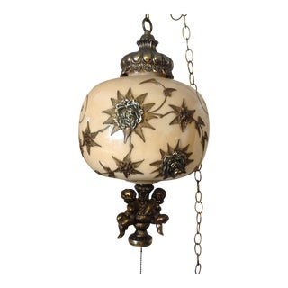 Hollywood Regency Hanging Swag Lamp With Cherubs