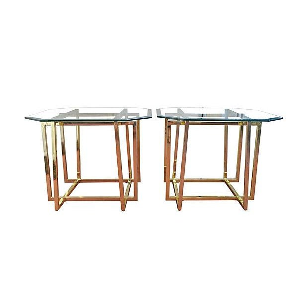 Cardin-Style Brass Side Tables- A Pair - Image 1 of 3