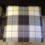 Image of Vintage Gray & Tan Plaid Parsons Benches - A Pair