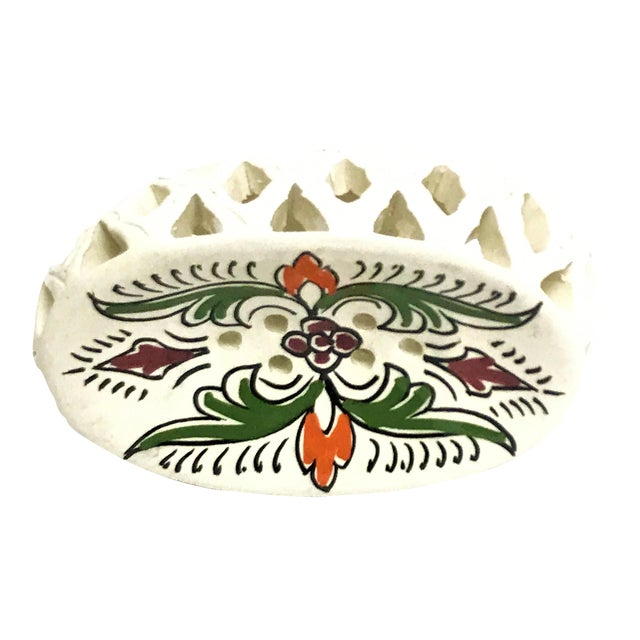 Image of Handpainted Moroccan Ceramic Soap Dish