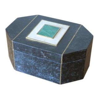 Maitland-Smith 1970s Art Deco Revival Tessellated Stone Box