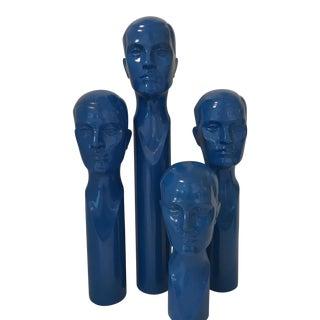 Blue Pop Art Men's Sculptural Heads - Set of 4