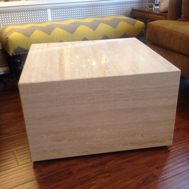 Vintage Travertine Cube Table - Image 2 of 7