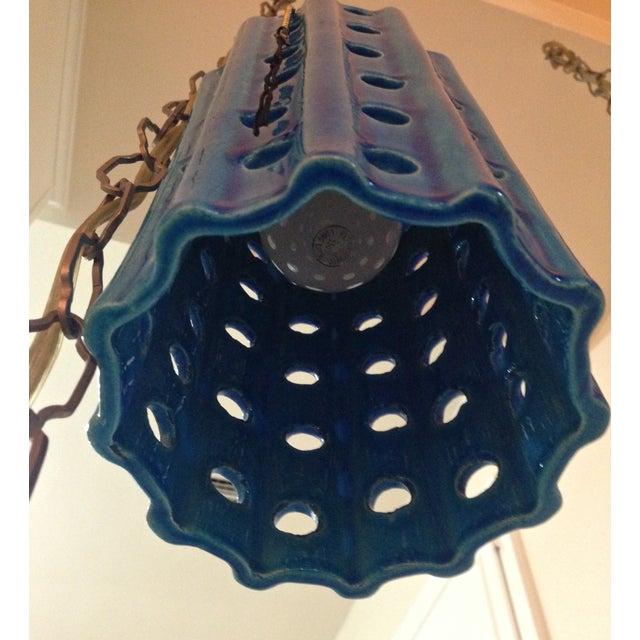 Vintage Pierced Ceramic Pendant Lights - A Pair - Image 5 of 8