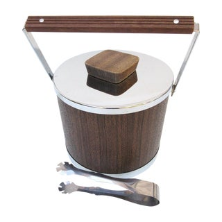 Mid Century Ice Bucket With Lid and Ice Tongs
