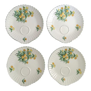 Staffordshire Cornwall Scalloped Teacup Dessert Plates - Set of 4