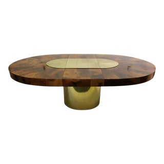 Paul Evans for Directional Brass & Wood Sunburst Large Oval Dining Table