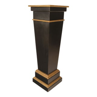 Neoclassic Black and Gold Painted Pedestal