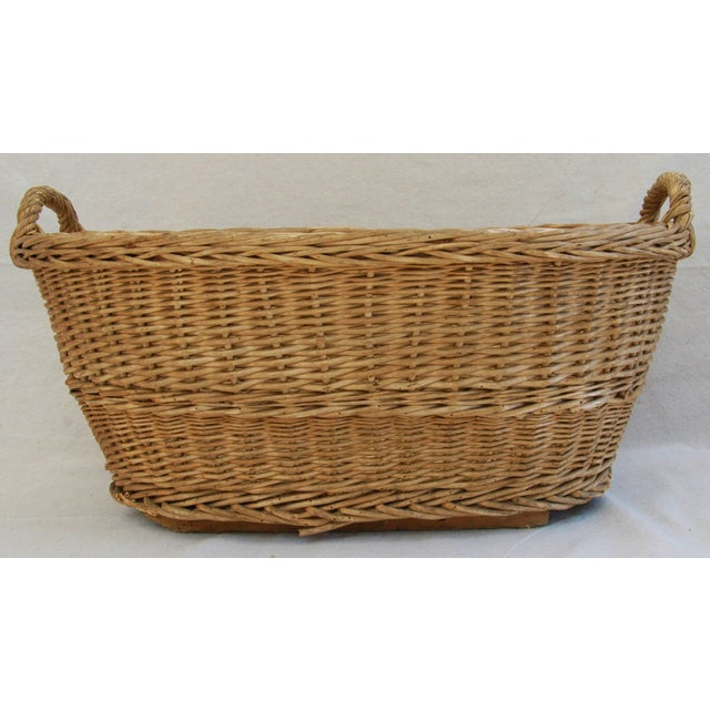 Early 1900s Woven French Country Market Basket - Image 7 of 8