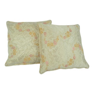 Ivory Pink & Yellow Floral Throw Pillows - A Pair