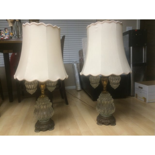 Vintage Brass & Crystal Lamps - Pair - Image 2 of 11
