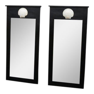 Hand Made Black Mirrors with Scallop Shell Detail - A Pair