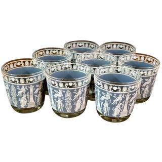 Mid-Century Blue Corinthian Glasses - Set of 8