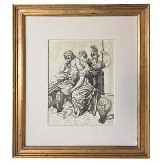 Antique French Classical Watercolor Ink Drawing