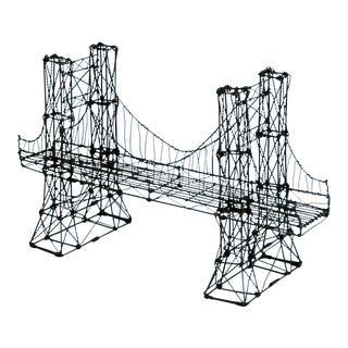 Mid-Century Handmade Wire Suspension Bridge Sculpture