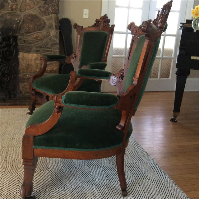 Antique Green Velvet Chairs - Image 3 of 6
