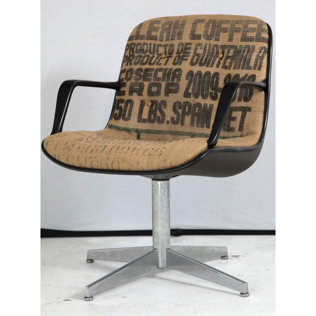 Image of Steelcase Side Chairs in Burlap, Pair