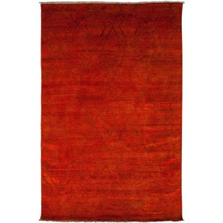"Moroccan Beni Ourain Hand Knotted Red Wool Area Rug - 5' 10"" X 8' 10"""