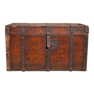 18th Century Antique Wooden Trunk