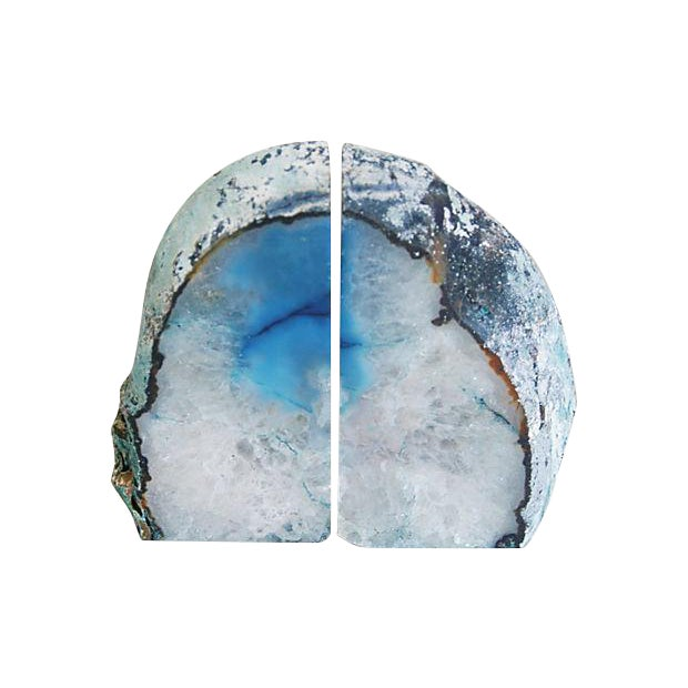 Blue And Ice Crystal Rock Bookends - Pair - Image 1 of 5