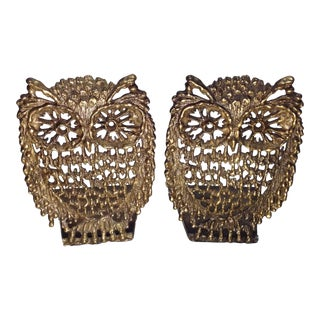 Vintage Brutalist Brass Owl Bookends - A Pair