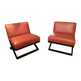 Leather & Ebonized Wood Club Chairs - A Pair