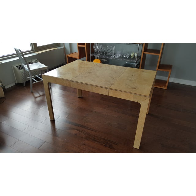 Image of Henredon Burl Wood Dining Table with Leaf