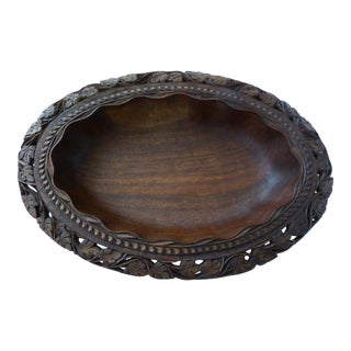 Vintage Hand Crafted Oval Walnut Bowl