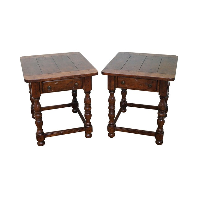 Image of Hickory Rustic Distressed Walnut End Tables - Pair