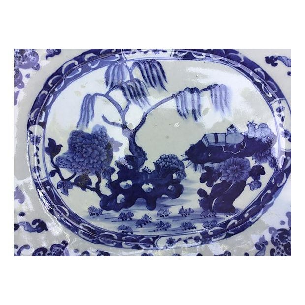 Blue & White Chinese Willow Platter - Image 2 of 4