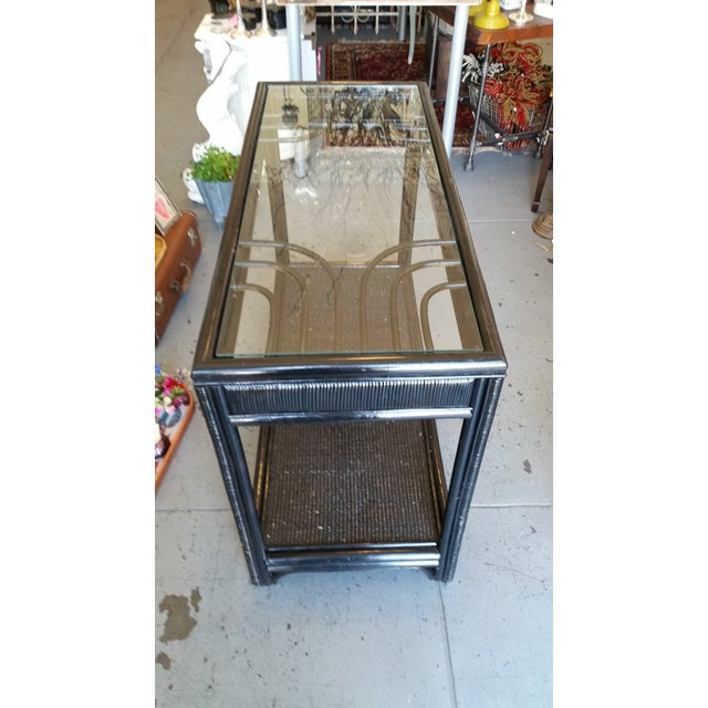 Vintage Glass Top Rattan Console Table - Image 3 of 10