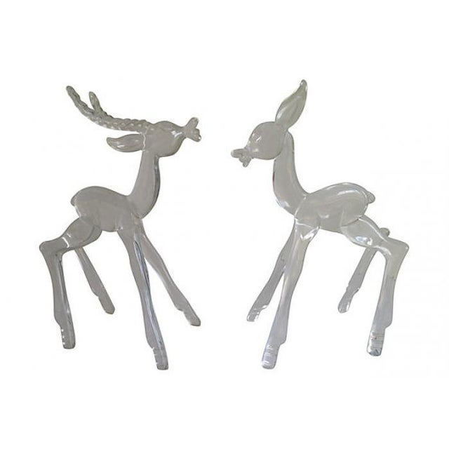 Midcentury Lucite Deer - Pair - Image 1 of 4