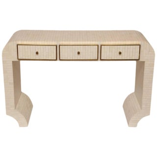 Bone Tiles and Brass over Wood Console