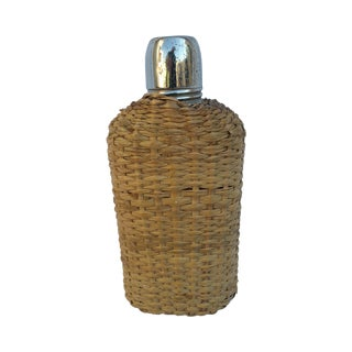 Antique 1920s Glass and Rattan Toddy Flask