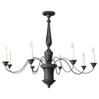 Ebonized Wood and Iron Chandelier from Italy