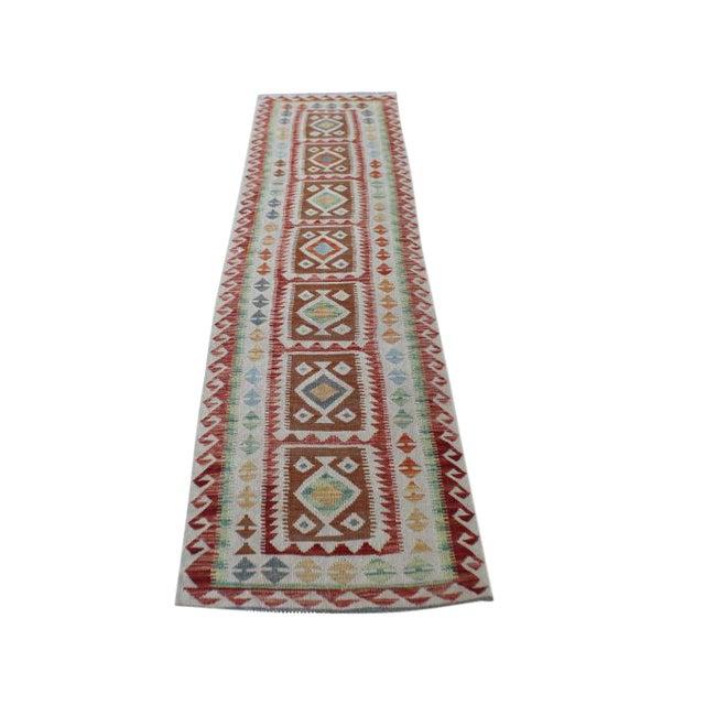 Vintage Afghani Vegetable Dye Handmade Kilim Runner- 2′8″ × 9′4″ - Image 1 of 4