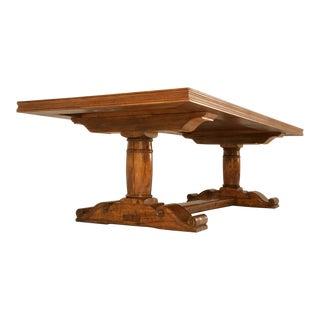 Vintage French Solid Walnut Farm Table w/Trestle & Fleur De Lys