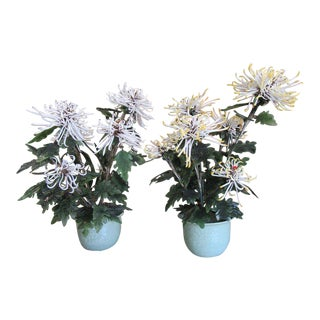 Chrysanthemum Glass Flowers & Pots - A Pair