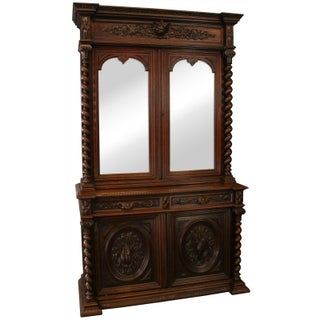 Antique Hunting Renaissance Carved Buffet