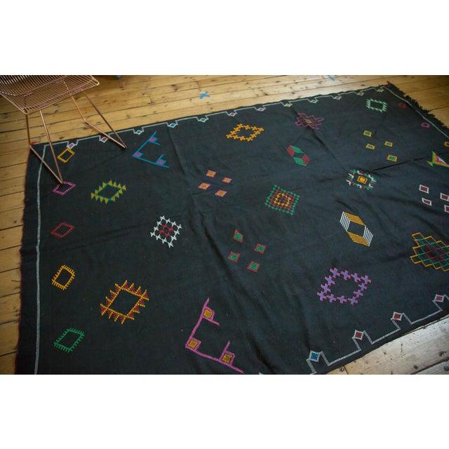 Black Moroccan Embroidered Kilim Carpet - 6' x 9' - Image 4 of 7